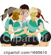 Poster, Art Print Of Teens Girls Sports Club Volleyball Illustration