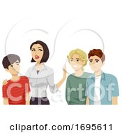Poster, Art Print Of Teens Guy Mom Keep Friends Away Illustration