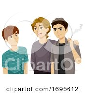 Teens Guys Bad Influence Friends Illustration
