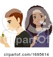 Teens Smoke Cigarette Illustration