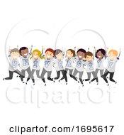 Stickman Teens University Shirt Jump Illustration