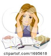 Poster, Art Print Of Teen Girl Study Stressed Illustration