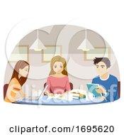 Teens Students Coffee Study Cafe Illustration