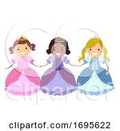 Stickman Kids Girls Princesses Illustration