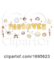 Stickman Kids Passover Lettering Illustration