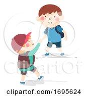 Kids Boys Help Each Other Illustration