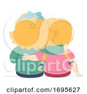Kids Girls Siblings Arm Shoulder Illustration