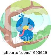 Bird Trees Worm Illustration