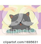 Poster, Art Print Of Cat Hand Reiki Massage Illustration