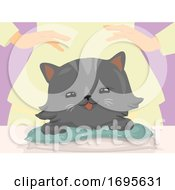 Cat Hand Reiki Massage Illustration