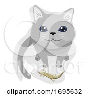 Cat Pet Gift Lizard Illustration