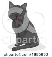 Cat Pet Self Grooming Illustration