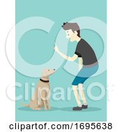 Dog Basic Command Sit Man Illustration