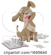 Dog Book Magazine Biting Illustration