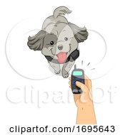 Poster, Art Print Of Dog Hand Electronic Collar Training Illustration