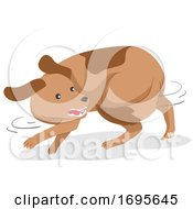 Poster, Art Print Of Dog Pet Chase Tail Illustration