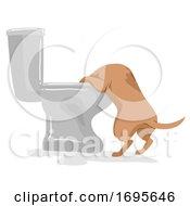 Poster, Art Print Of Dog Pet Like Toilet Illustration