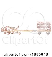 Poster, Art Print Of Dog Pit Bull Weight Pulling Illustration