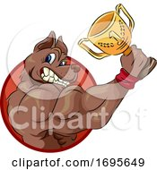 Poster, Art Print Of Dog Sport Trophy Weight Pulling Illustration