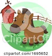 Horse Barn Grass Illustration