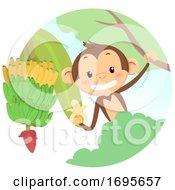 Monkey Tree Banana Illustration