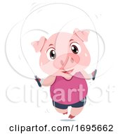 Pig Exercise Jumping Rope Illustration