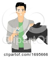 Man Veterinarian Cow Vaccine Illustration