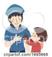 Girl Kid Boy Return Wallet To Police Illustration