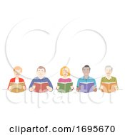 Poster, Art Print Of Seniors Reading Books Illustration