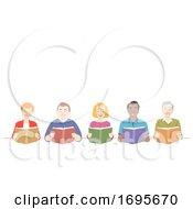 Seniors Reading Books Illustration