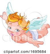 Flying Blond Caucasian Baby Cupid