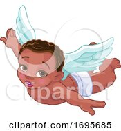 Flying Black Baby Cupid by Pushkin