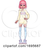 Poster, Art Print Of Teen Girl With Pink Hair