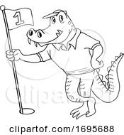 Cartoon Black And White Alligator Holding A Golf Flag by LaffToon