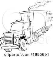 Cartoon Black And White Tractor Trailer by LaffToon