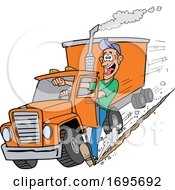 Cartoon Trucker Using His Foot To Stop A Tractor Trailer