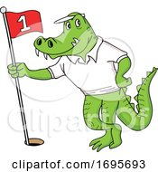 Cartoon Alligator Holding A Golf Flag by LaffToon
