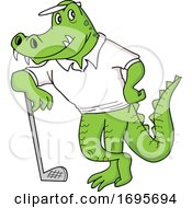 Cartoon Alligator Leaning On A Golf Club