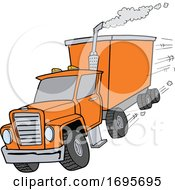 Cartoon Orange Tractor Trailer by LaffToon