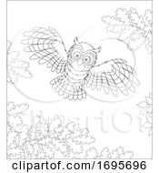 Flying Owl And Oak Branches