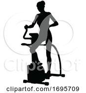 Poster, Art Print Of Gym Woman Silhouette Elliptical Cross Fit Machine