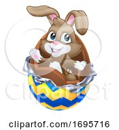 Poster, Art Print Of Easter Bunny Rabbit Breaking Out Of Chocolate Egg