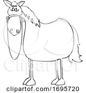 Cartoon Lineart Startled Horse