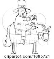Cartoon Lineart Leprechaun Riding A Horse