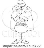 Cartoon Black And White Leprechaun Holding A Pot Of Gold