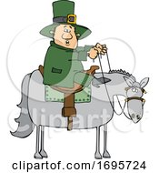 Cartoon Leprechaun Riding A Horse