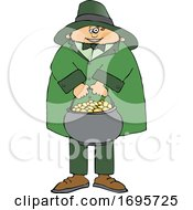 Cartoon Leprechaun Holding A Pot Of Gold