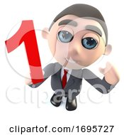 Funny 3d Cartoon Businessman Character Holding A Number One Numeral