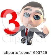 Funny Cartoon 3d Businessman Character Holding The Number Three 3