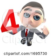 Cartoon 3d Businessman Character Holding The Number Four